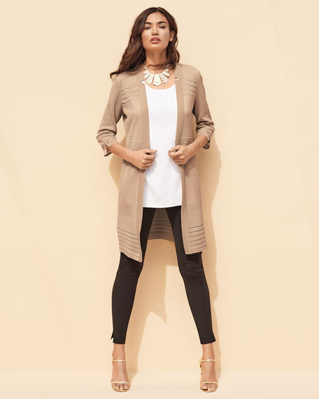 3/4-Sleeve Notched-Lapel Topper Jacket, Petite