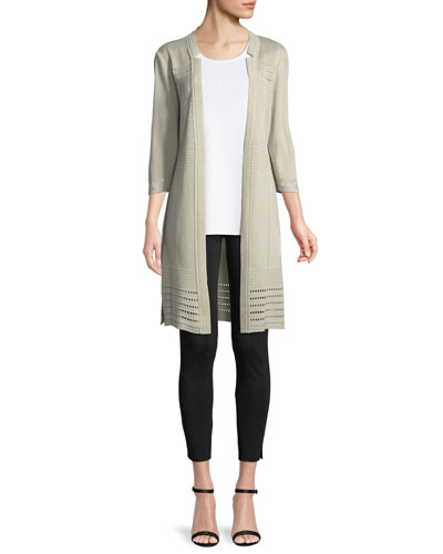 3/4-Sleeve Notched-Lapel Topper Jacket, Plus Size and Matching Items