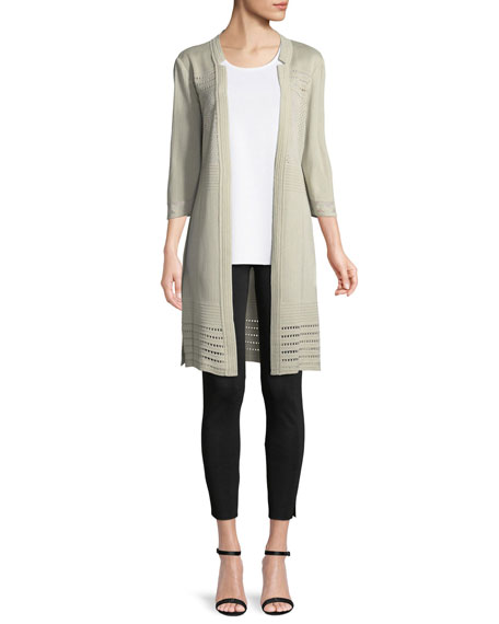 3/4-Sleeve Notched-Lapel Topper Jacket, Plus Size