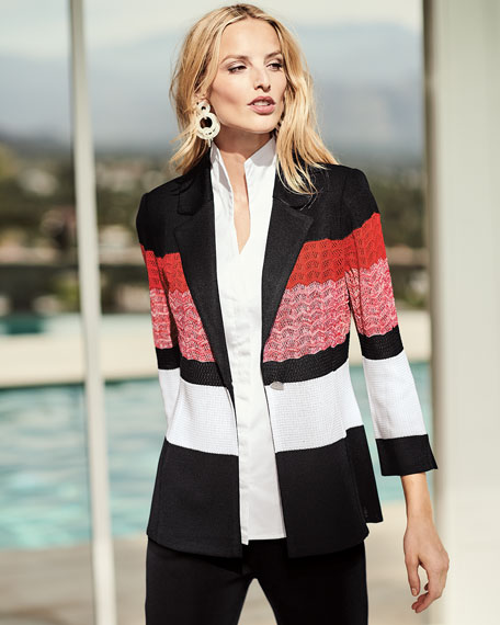 Block-Striped One-Button Jacket, Petite