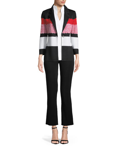 Block-Striped One-Button Jacket, Petite  and Matching Items