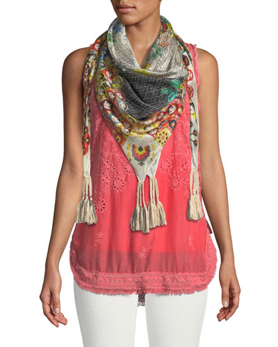 Eyelet Embroidered Fringe-Trim Tank and Matching Items