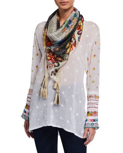 Embroidered-Trim Long-Sleeve Tunic and Matching Items