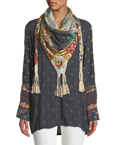 Embroidered-Trim Long-Sleeve Tunic, Plus Size and Matching Items