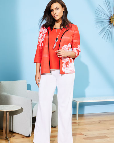 Placed Floral 3/4-Sleeve Jacket, Plus Size and Matching Items