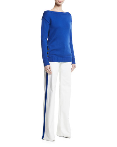 High-Rise Wide-Leg Jeans with Contrast Side Stripe and Matching Items