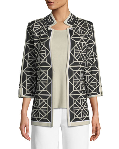 Geo Squares 3/4-Sleeve Jacket  and Matching Items
