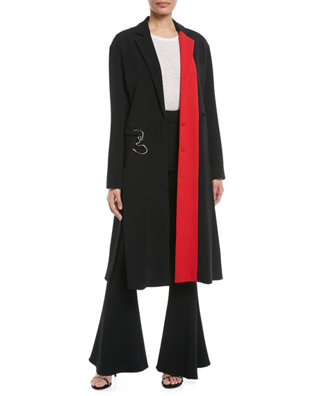 Notched-Lapel Colorblocked Stretch-Cady Midi Coat w/ Twisted Hardware