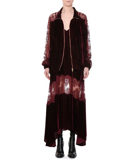 Zip-Front Velvet Bomber Jacket with Lace Inset