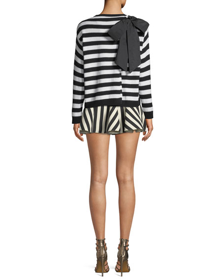 Striped Long-Sleeve Cashmere Sweater w/ Bow-Neck