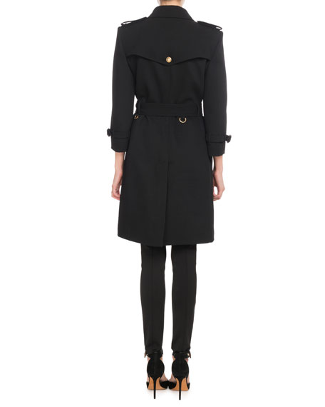 Double-Breasted Heavy Wool Crepe Trench Coat