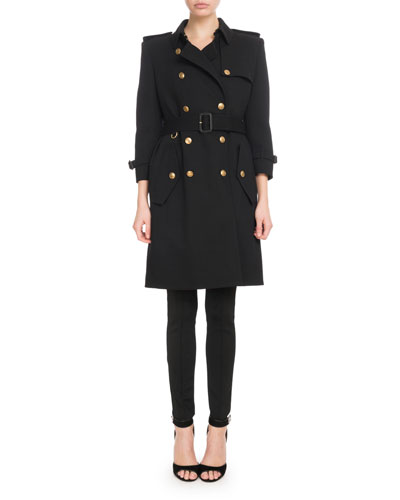 Double-Breasted Heavy Wool Crepe Trench Coat and Matching Items