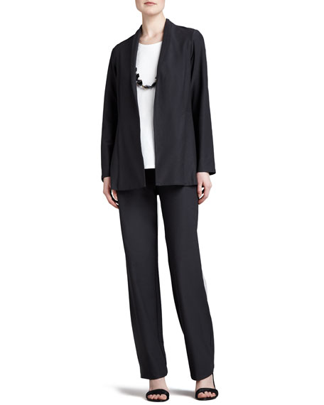 Long Washable Crepe Shawl-Collar Jacket