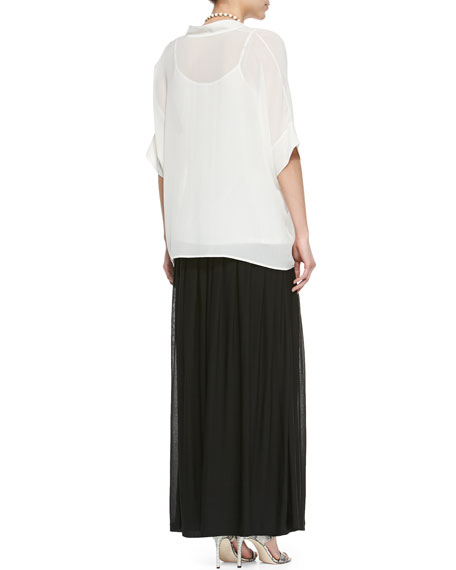 3/4-Sleeve Silk Box Top, Petite