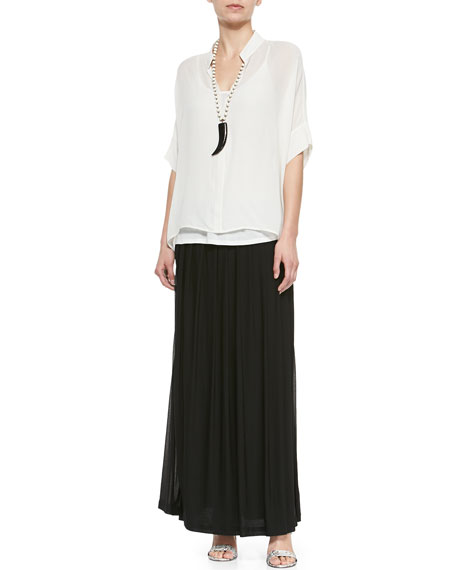 3/4-Sleeve Silk Box Top, Plus Size