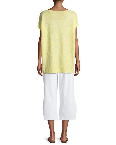 Melange Linen Bateau-Neck Poncho Top, Plus Size