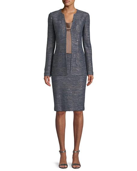Copper Sequin Tweed Knit Jacket