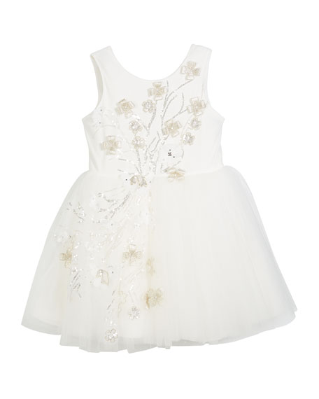 3D Sequin Embellished Tulle Party Dress, Size 2-6X