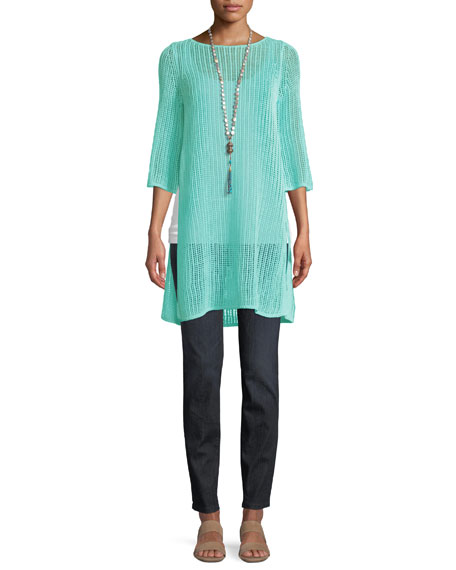 3/4-Sleeve Long Organic Linen Tunic with Side Slits