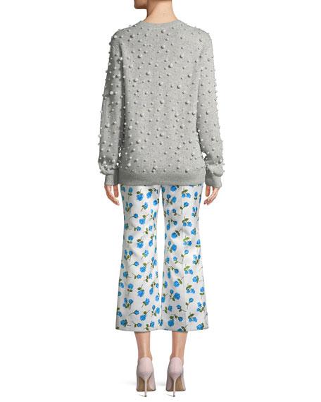 Crewneck Pearlescent-Embellished Cashmere Sweater
