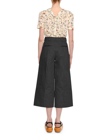 Ribbon & Charm Short-Sleeve Asymmetric-Collar Silk Blouse