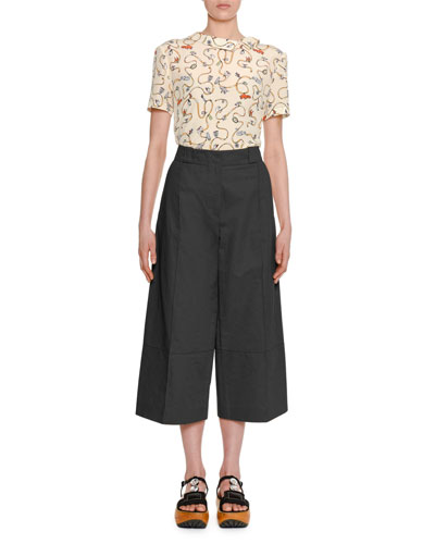 Cracker Jacket Small-Print Short-Sleeve Asymmetric-Collar Silk Blouse and Matching Items