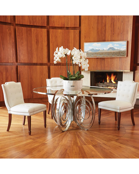 Global Views Delicate Scroll Glass-Top Dining Table