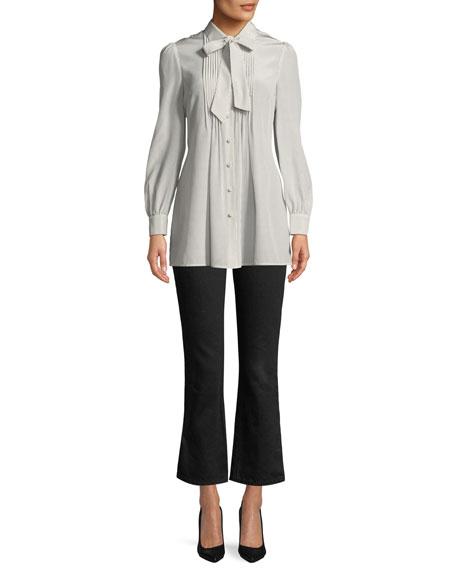 Tie-Neck Long-Sleeve Pleated-Bib Silk Tunic Blouse