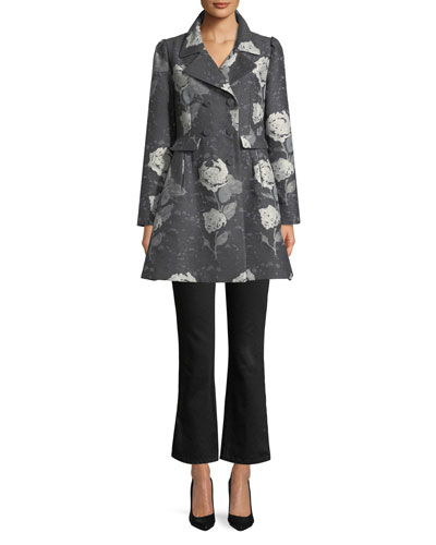 Double-Breasted Floral-Jacquard Wool Car Coat and Matching Items