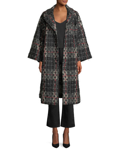 Dot-Jacquard Plaid Knit Swing Coat w/ Frayed Threads  and Matching Items