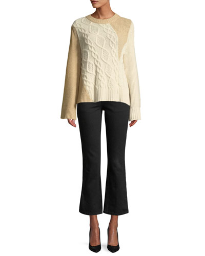 Crewneck Long-Sleeve Patchwork Cable-Knit Tunic Sweater  and Matching Items