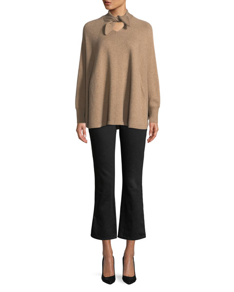 Tie-Neck Long-Sleeve Wool-Cashmere Poncho Sweater