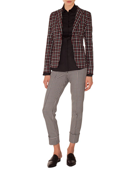 Single-Breasted Notched-Lapel Check Blazer