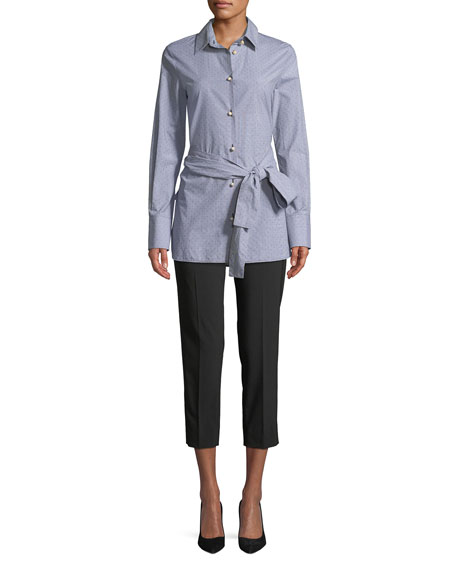 Long-Sleeve Tie-Waist Cotton Dobby Shirt with Faux-Pearl Buttons