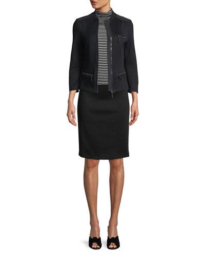 Grosgrain-Panel Straight Slim Knee-Length Skirt and Matching Items