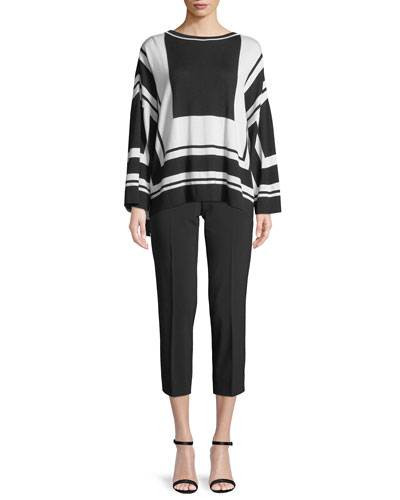 Graphic-Stripe Wool/Silk Sweater and Matching Items