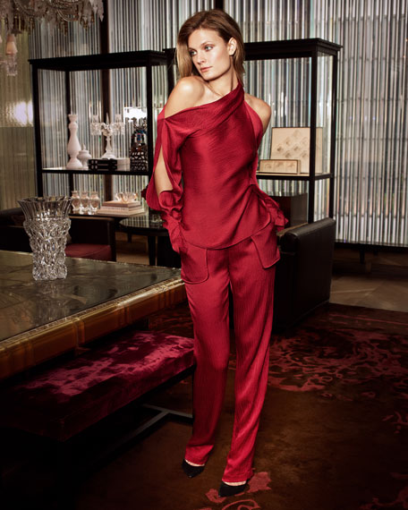 Cold-Shoulder Button-Cuff Hammered Satin Blouse