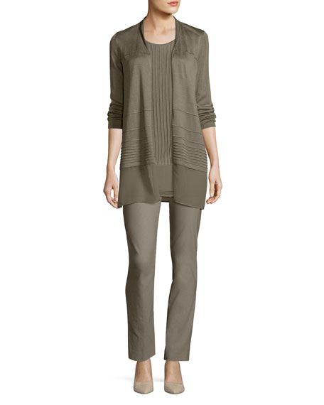 Textured Chiffon-Trim Cardigan, Plus Size