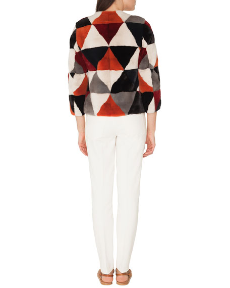 Boat-Neck Elbow-Sleeve Cashmere/Silk Sweater with Tulle Stripe