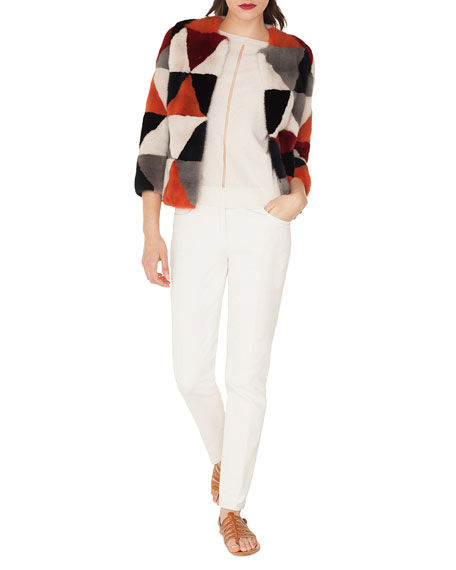 Suzume Hook-Front Diamond-Patchwork Mink Fur Short Coat