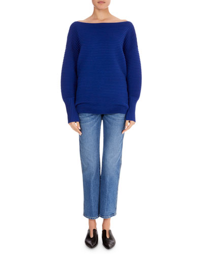 Boat-Neck Full-Sleeve Horizontal Ribbed Wool Sweater  and Matching Items