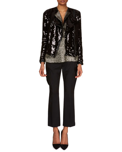Zip-Front Paillettes Jacket and Matching Items