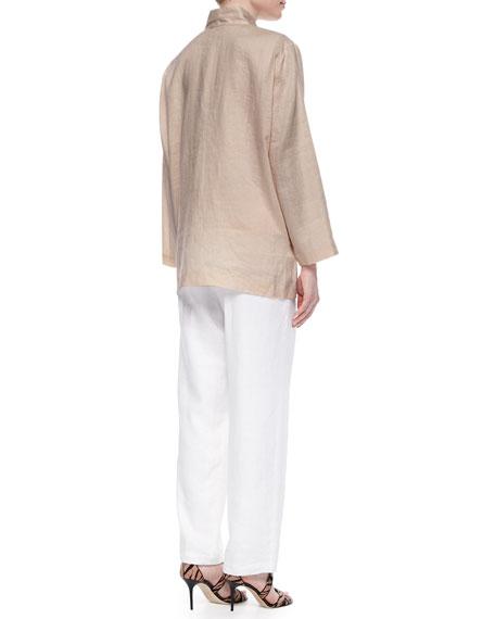 Straight-Leg Lined Linen Pants, Plus Size