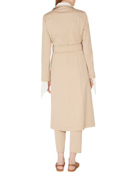 Teri Single-Breasted Belted Cotton-Silk Gabardine Trench Coat