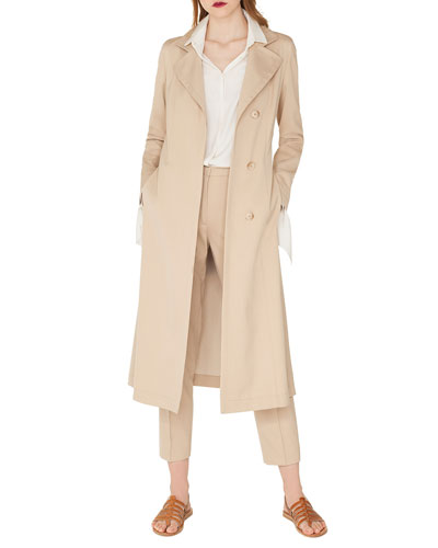 Teri Single-Breasted Belted Cotton-Silk Gabardine Trench Coat and Matching Items