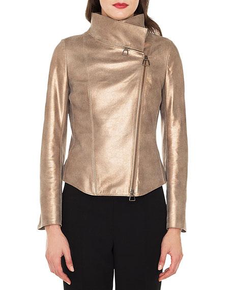 Ranka Zip-Front Metallic Lamb Suede Jacket