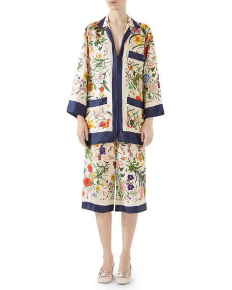 Floral-Print Zip-Front Silk Twill Pajama Top