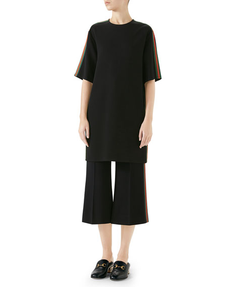 Gucci Short-Sleeve Boxy Light-Viscose Cady Stretch Dress w/ Web Stripe