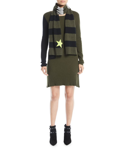 Long-Sleeve Colorblock Cotton-Cashmere Dress w/ Patch Pocket and Matching Items