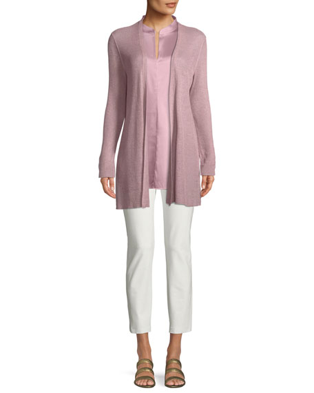 Eileen Fisher Cap-Sleeve Stretch Silk Charmeuse Top